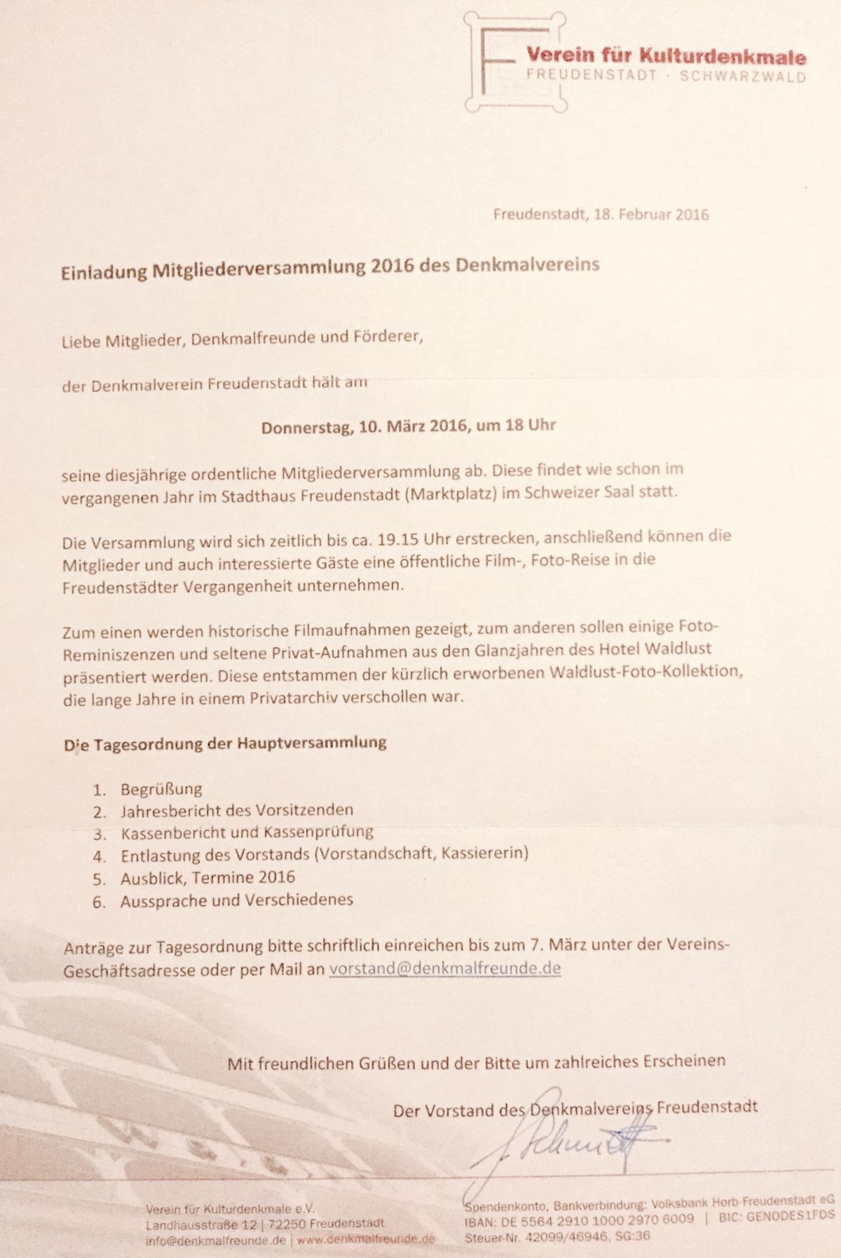 einladung mitgliederversammlung 2016 | verein für kulturdenkmale, Einladung